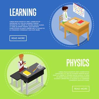 Física y lenguaje estudiando en la escuela banner web set