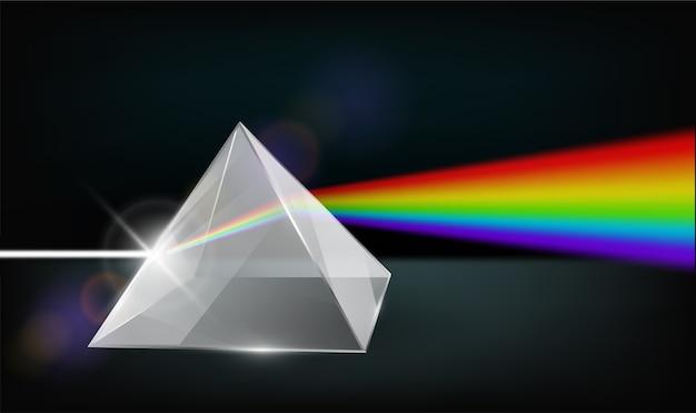 Física de la óptica. luz blanca a través de la pirámide de vidrio transparente refracción