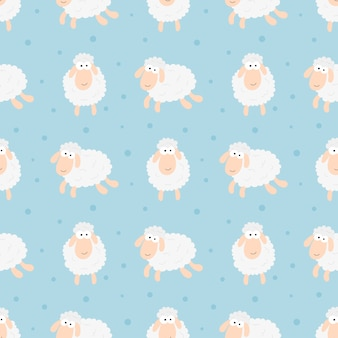 Sin fisuras dulces sueños ovejas divertido patrón animal para tela, textil, papel, papel pintado, envoltura