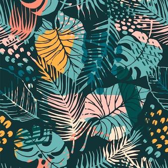 Sin fisuras patrón abstracto con plantas tropicales