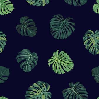 Sin fisuras patrón botánico tropical con hojas de palma monstera verde. hawaiana exótica.