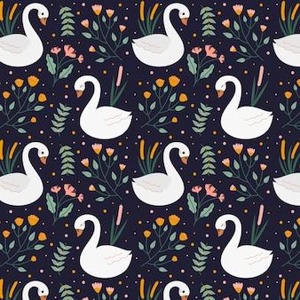 Sin fisuras patrón elegante con cisnes y flores.