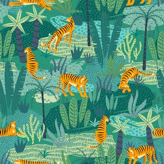 Sin fisuras patrón exótico con tigres en la selva.