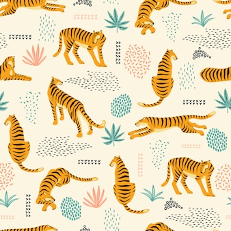 Sin fisuras patrón exótico con tigres.