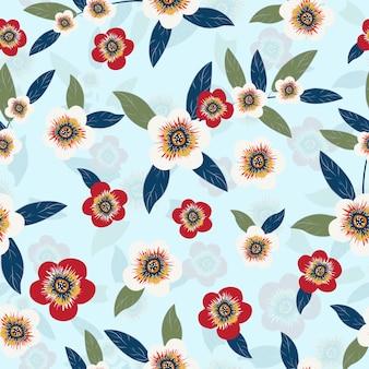 Sin fisuras patrón de flores y hojas de colores