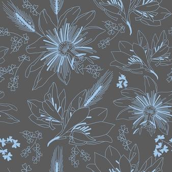 Sin fisuras patrón gris oscuro con lirio de flores
