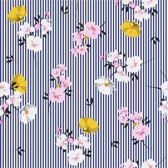 Sin fisuras patrón hermoso lleno de flores florecientes y deja un estado de ánimo brillante en la raya azul marino