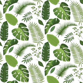 Sin fisuras patrón de hojas tropicales verano diseño