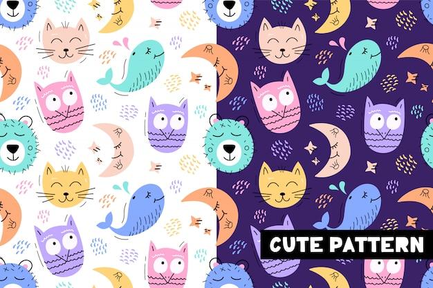 Sin fisuras patrón infantil con caras de animales graciosos