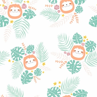 Sin fisuras patrón infantil suave con caras perezoso animal en las hojas tropicales. ilustración de vivero dibujado a mano