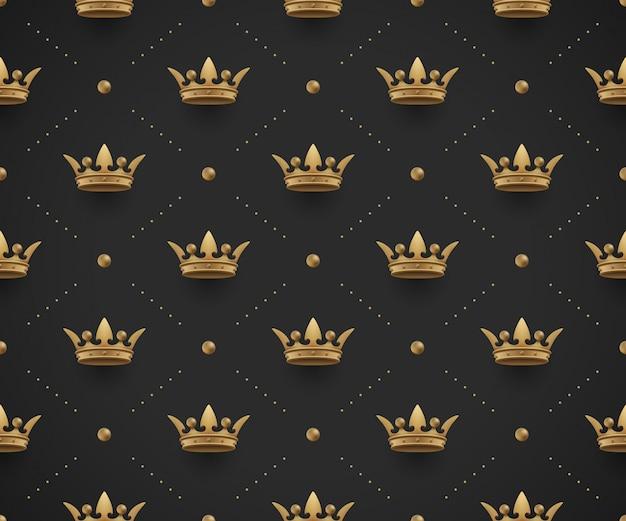 Sin fisuras patrón oro con coronas de rey sobre un fondo negro oscuro. ilustración vectorial