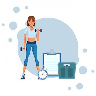 Fit mujer haciendo ejercicio