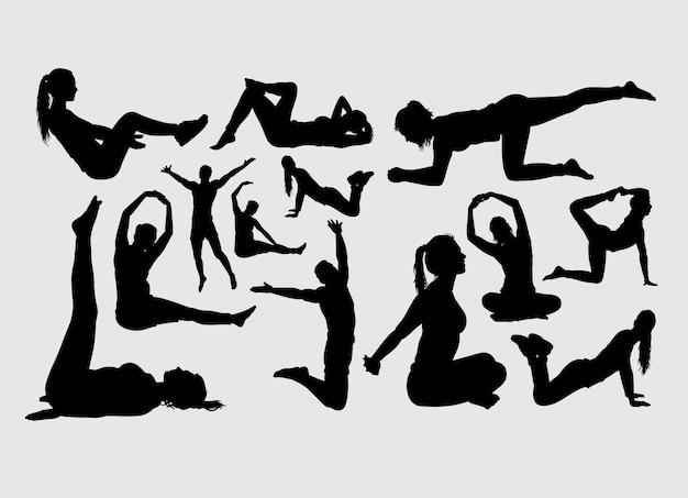 Fitness y aerobic deporte masculino y femenino silueta