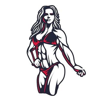 Fitness bikini mujer o niña figura silueta en grabado antiguo ilustración de arte vectorial o sello de emblema vintage retro aislado sobre fondo blanco ideal para el diseño de la muestra o camiseta del logotipo del club deportivo