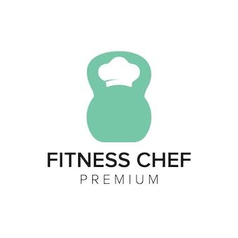 Fitness chef logo icono vector plantilla