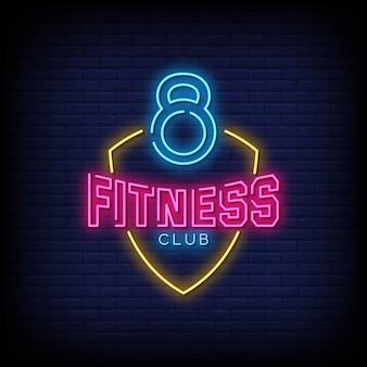 Fitness club neon letreros estilo texto