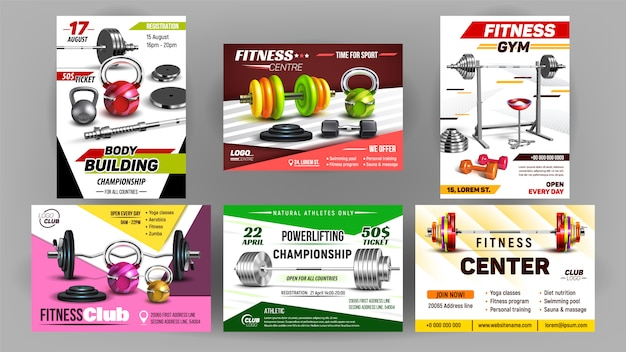 Fitness club sport advertise banner set