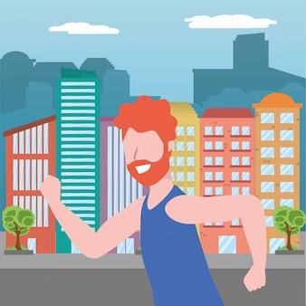 Fitness deporte tren de dibujos animados