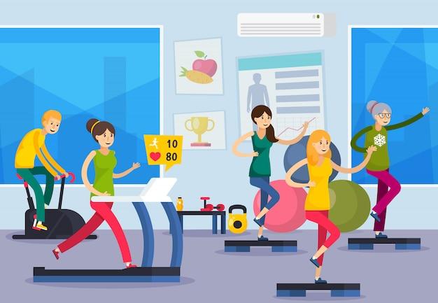 Fitness entrenamiento gente ortogonal composición