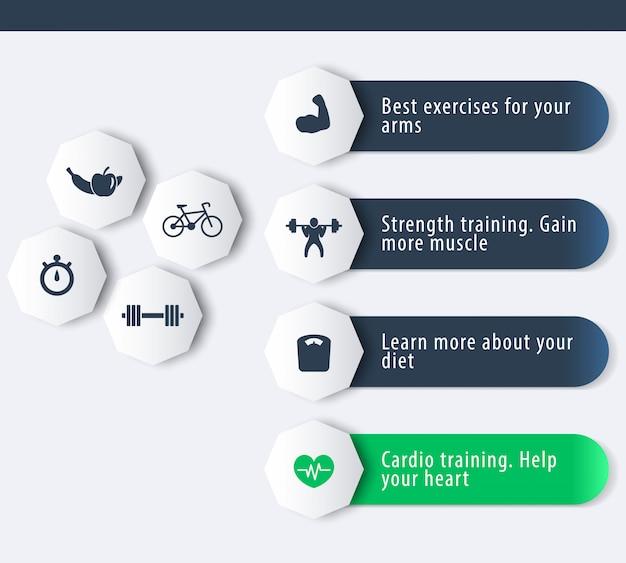 Fitness, entrenamiento, gimnasio, iconos de entrenamiento con banner geométrico 3d en azul oscuro y verde, ilustración