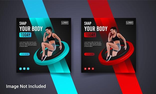Fitness y gimnasio, redes sociales, publicación de instagram, banner web y diseño de flyer cuadrado