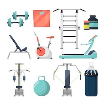 Fitness gym objetos barra y mancuerna