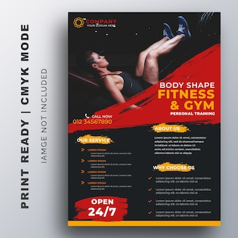 Fitness, gym training flyer design template