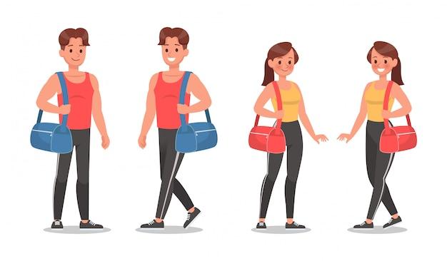 Fitness hombre y mujer haciendo ejercicio conjunto de caracteres