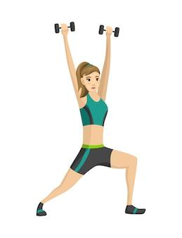 Fitness mujer. icono de niña haciendo ejercicios deportivos.