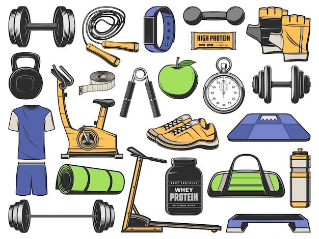 Fitness, objetos de gimnasia, equipos de ejercicio deportivo.