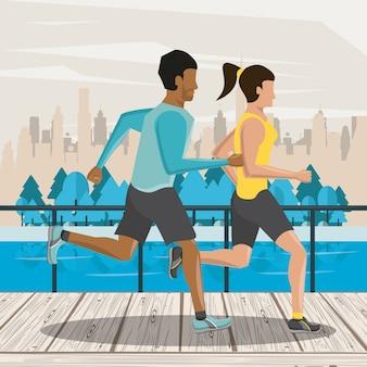 Fitness pareja amigos corriendo
