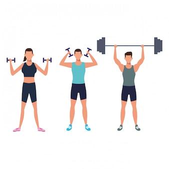Fitness personas entrenando con