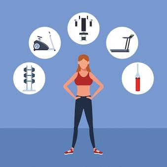Fitness personas y gimnasio
