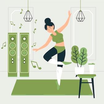 Fitness plano ilustrado en casa.