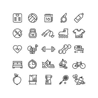 Fitness salud deporte vector contorno iconos
