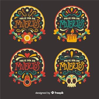 Flad design colección de insignias del día de muertos