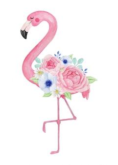 Flamenco encantador con hermoso ramo de flores, ilustración acuarela