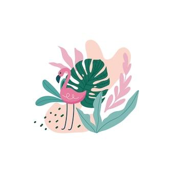 Flamenco con hojas tropicales, monstera, hojas de palmera, hibisco