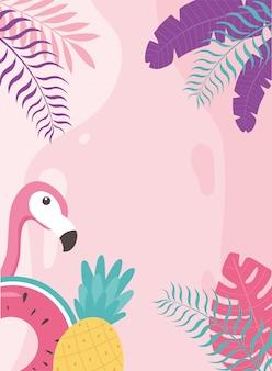 Flamenco, pájaro, piña, y, flotador, exótico, tropical, hojas, hola, verano, ilustración