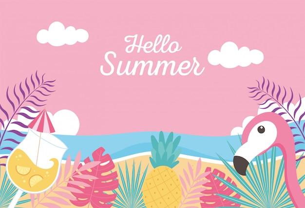 Flamenco piña cóctel playa mar exóticas hojas tropicales, hola ilustración de letras de verano