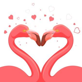 Flamenco rosado besando el amor de los animales. corazones que simbolizan sentimientos profundos de pájaros con patas y cuello largos. aves exóticas salvajes altas