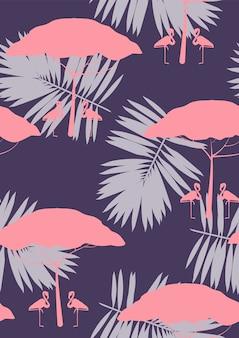 Flamenco rosado con el modelo inconsútil floral de las hojas tropicales.