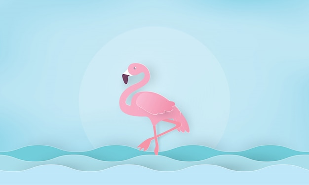 Flamenco rosado de pie en el agua. días festivos