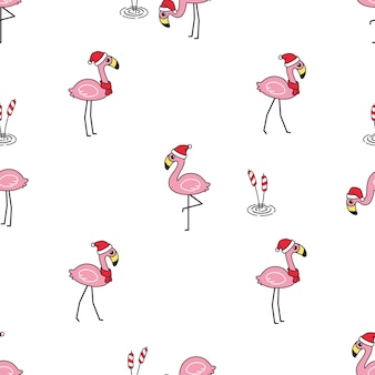 Flamenco, seamless, patrón, navidad, santa claus, sombrero, caricatura