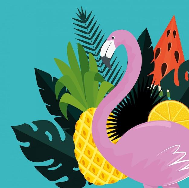 Flamenco tropical con frutas exóticas y hojas de plantas.