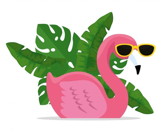 Flamenco tropical con gafas de sol con hojas exóticas