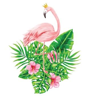 Flamencos e ilustraciones de follaje tropical.