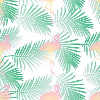 Flamencos rosados sin fisuras y patrón de hoja de palma sobre fondo blanco