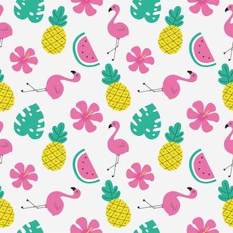 Flamencos rosados con patrones sin fisuras de frutas tropicales