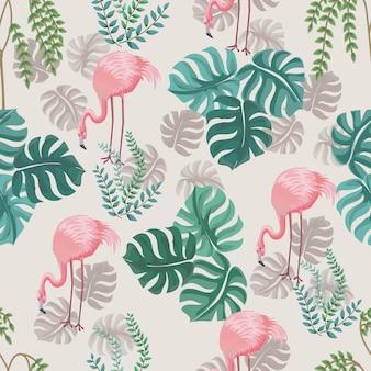 Flamingo y árboles naturaleza bosque de patrones sin fisuras.